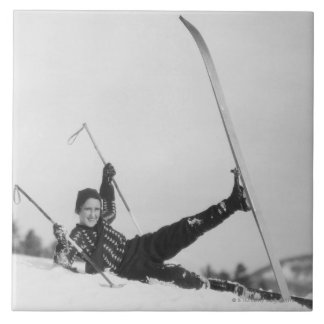 Woman Skier 2 Ceramic Tile