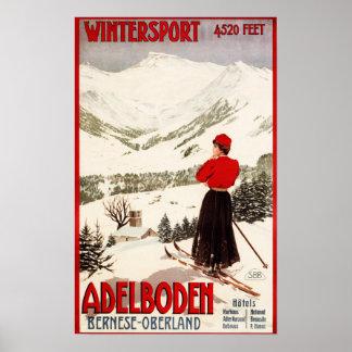 Woman Skier Overlooking Adelboden Poster
