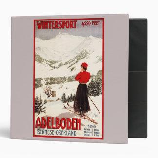 Woman Skier Overlooking Adelboden Poster 3 Ring Binder