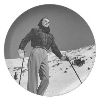 Woman Skier Party Plates