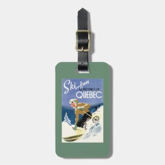 Woman Skiing - Both English and French Poster Luggage Tags
