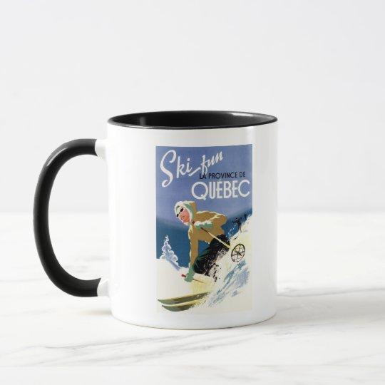 Woman Skiing - Both English and French Poster Mug