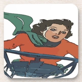 Woman Sledding in Snow Drink Coaster