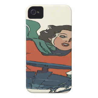 Woman Sledding in Snow iPhone 4 Case