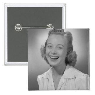 Woman Smiling Button