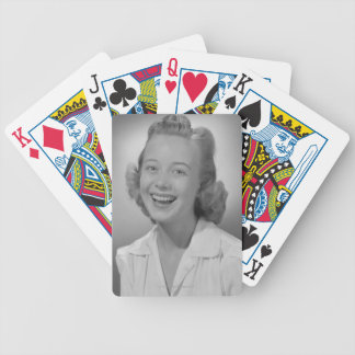 Woman Smiling Bicycle Playing Cards