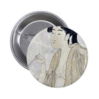 Woman smoking a pipe by Kitagawa Utamaro Ukiyoe Buttons