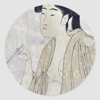 Woman smoking a pipe by Kitagawa, Utamaro Ukiyoe Sticker