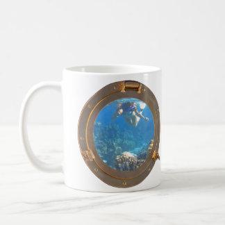 woman snorkeling classic white coffee mug