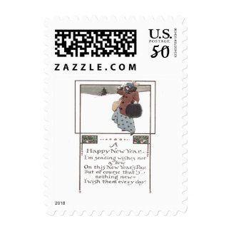 Woman Snow Holly Postage