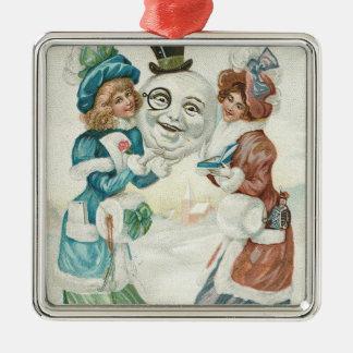 Woman Snowman Cigarette Monocle Top Hat Metal Ornament