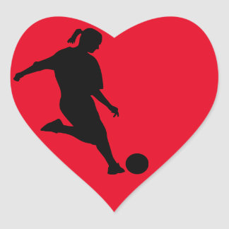 woman soccer heart sticker