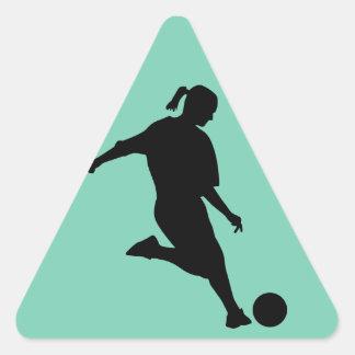 woman soccer triangle sticker