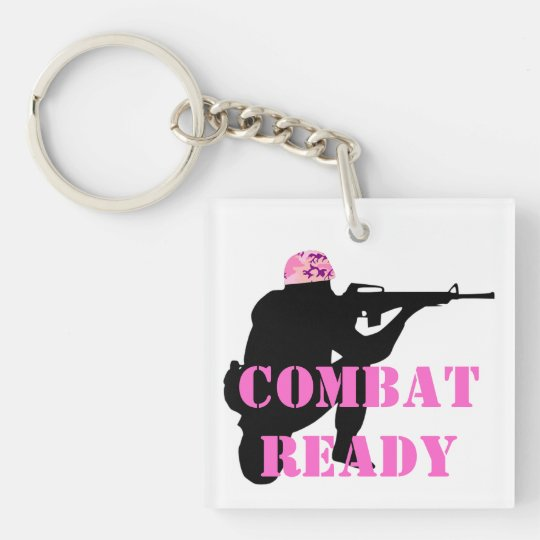 Woman Soldier With Pink Camouflage Helmet Keychain