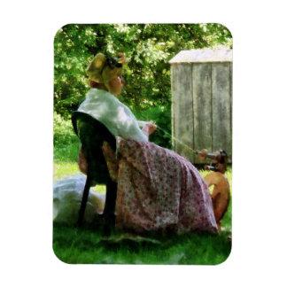 Woman Spinning Wool Rectangular Photo Magnet