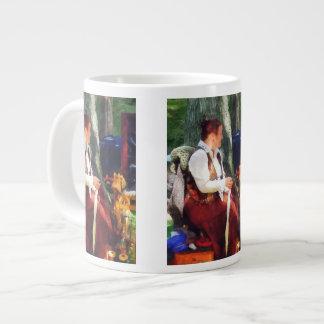 Woman Spinning Yarn at Flea Market 20 Oz Large Ceramic Coffee Mug