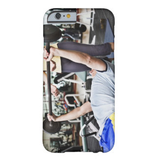 Woman spotting man lifting barbell barely there iPhone 6 case