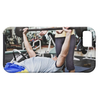 Woman spotting man lifting barbell iPhone SE/5/5s case