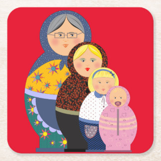 Woman Stages Of Life Matryoshka Dolls Square Paper Coaster