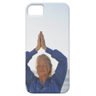 Woman standing with hands clasped overhead iPhone SE/5/5s case