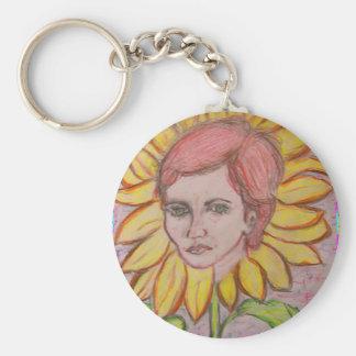 Woman Sunflower Keychain