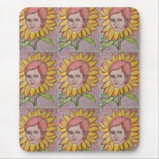 Woman Sunflower Mouse Pad