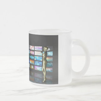 Woman Surfing the Web on Smartphone or Tablet Frosted Glass Coffee Mug