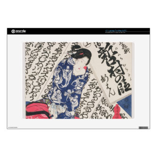 """Woman surrounded by Calligraphy (colour woodblock 15"""" Laptop Skins"""