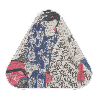 Woman surrounded by Calligraphy (colour woodblock Bluetooth Speaker