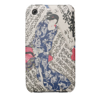 Woman surrounded by Calligraphy (colour woodblock iPhone 3 Cover