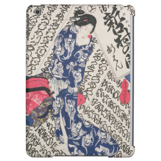 Woman surrounded by Calligraphy (colour woodblock Cover For iPad Air