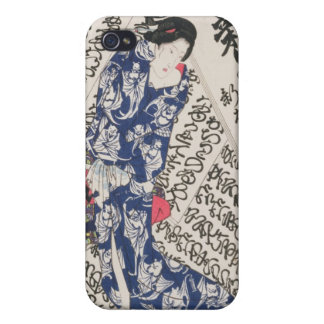 Woman surrounded by Calligraphy (colour woodblock Cover For iPhone 4