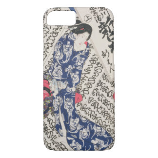 Woman surrounded by Calligraphy (colour woodblock iPhone 7 Case