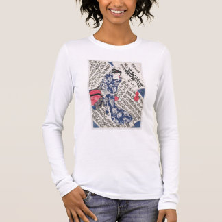Woman surrounded by Calligraphy (colour woodblock Long Sleeve T-Shirt