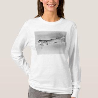 Woman Swinging Tennis Raquet T-Shirt