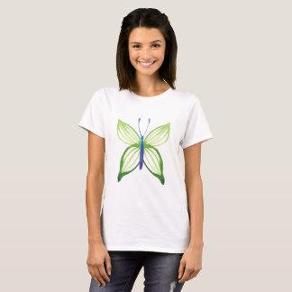 Woman T-shirt Green Butterfly Design