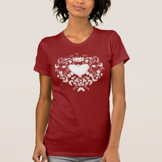 Woman T-shirt  with floral  white heart