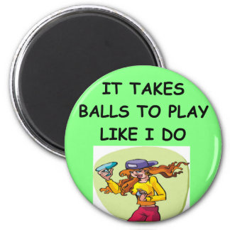 woman table tennis player 2 inch round magnet