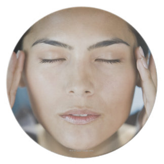 Woman taking a spa treatment party plates