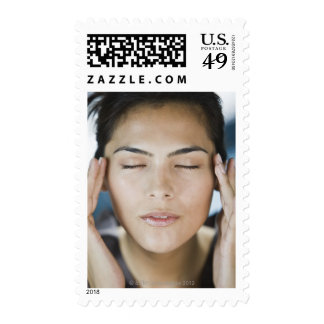 Woman taking a spa treatment stamps