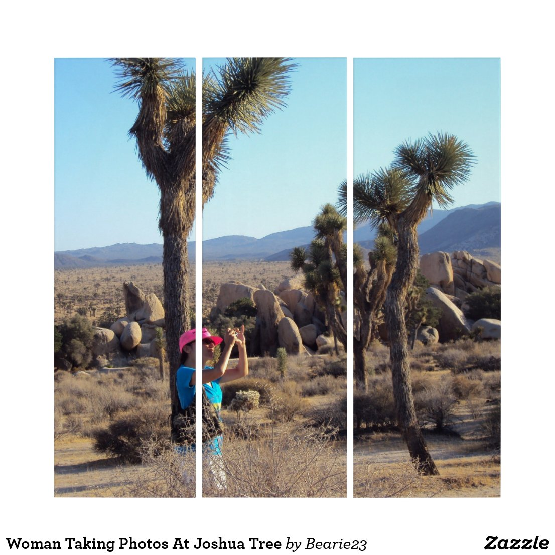 Woman Taking Photos At Joshua Tree Triptych