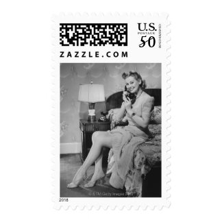 Woman Talking on Phone Postage