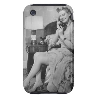 Woman Talking on Phone Tough iPhone 3 Cover