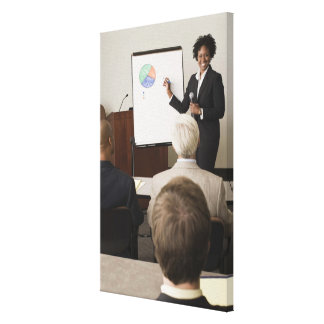 Woman teaching a class to adults canvas print