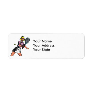 woman tennis player graphic label