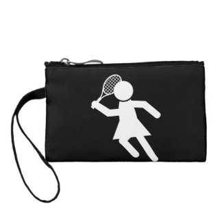 Woman Tennis Player - Tennis Symbol (on Black) Coin Purses