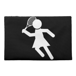 Woman Tennis Player - Tennis Symbol (on Black) Travel Accessory Bags