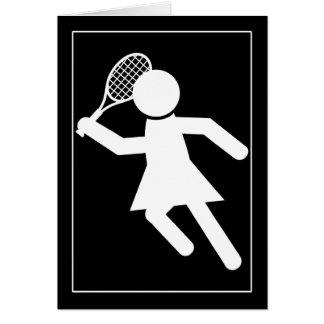 Woman Tennis Player - Tennis Symbol (on Black) Greeting Cards