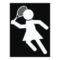 Woman Tennis Player - Tennis Symbol (on Black) Card