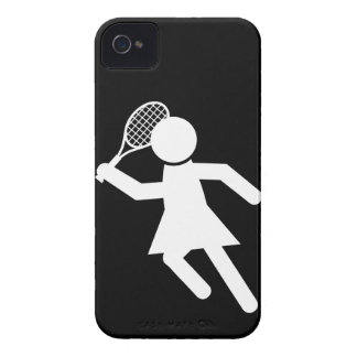 Woman Tennis Player - Tennis Symbol on Black iPhone 4 Case